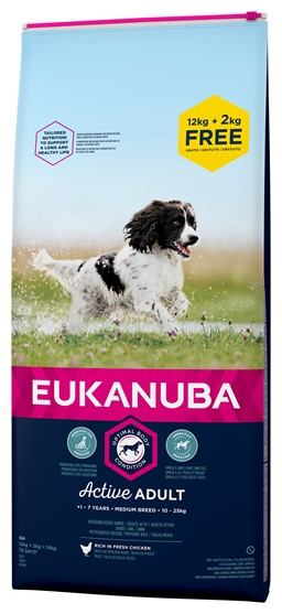 EUKANUBA ADULT MEDIUM HUNDEFODER BONUS